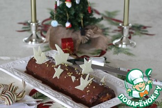 Рецепт: Шоколадно-карамельное рождественское полено