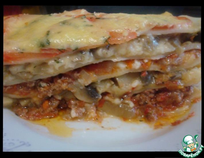 Рецепт: Лазанья с болоньезе и грибами