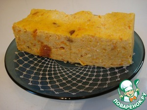 Cottage cheese casserole with carrots and pumpkin