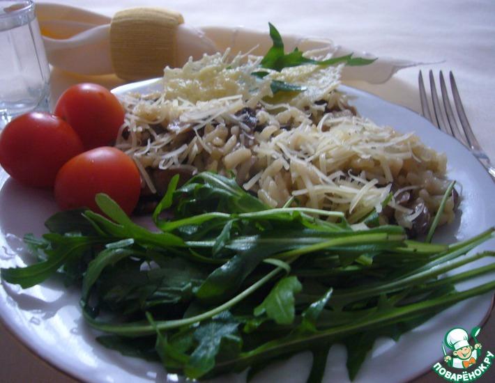 Рецепт: Ризотто с грибами, пармезаном и рукколой