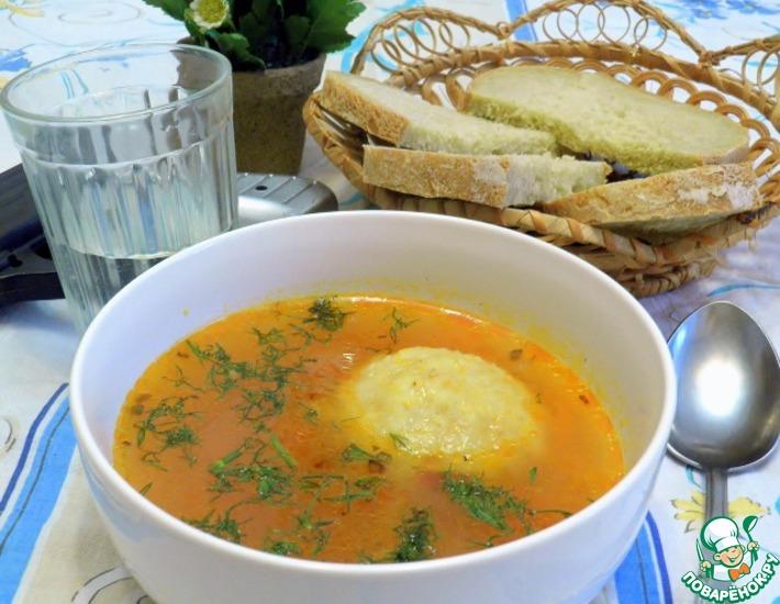 Рецепт: Суп с клёцками из булгура с мясной начинкой