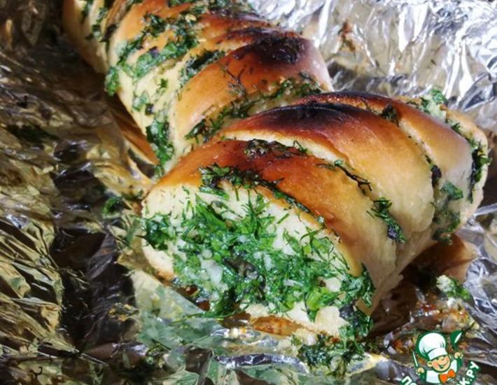 Рецепт: Хлеб с травами и чесноком