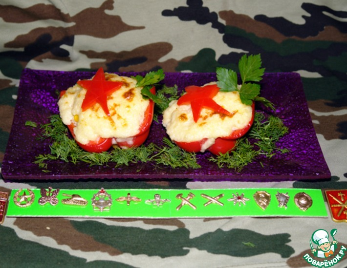 Рецепт: Перцы фаршированные Войсковые + бонус