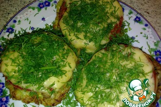 Рецепт: Кабачковые оладьи, запеченные с мясом и сыром