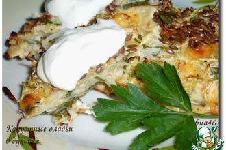 Рецепт: Капустные оладьи с сыром в духовке