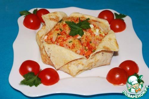 """Салат с креветками, овощами и кускусом """"Вещмешок"""" – кулинарный рецепт"""