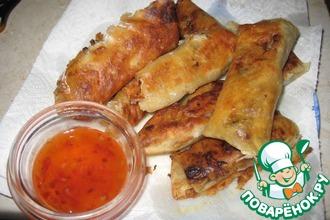 Рецепт: Тесто для спринг-роллов и китайские роллы с мясом и грибами