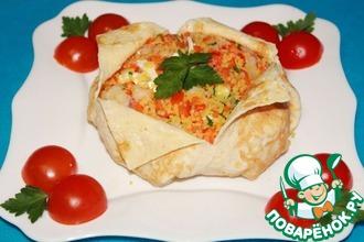 Рецепт: Салат с креветками, овощами и кускусом Вещмешок