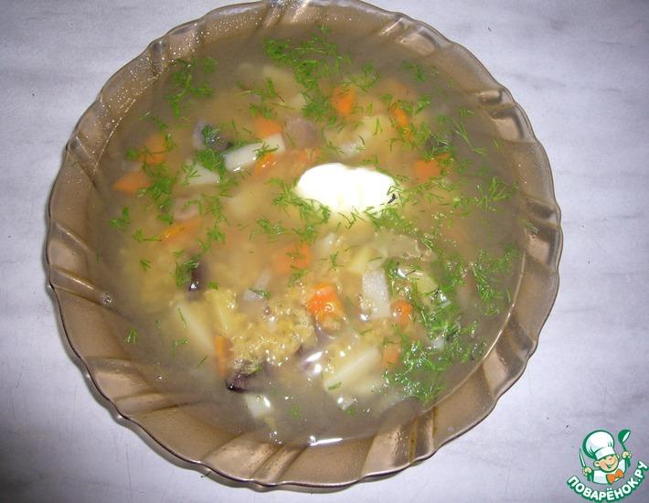 Рецепт: Суп из чечевицы с грибами в мультиварке