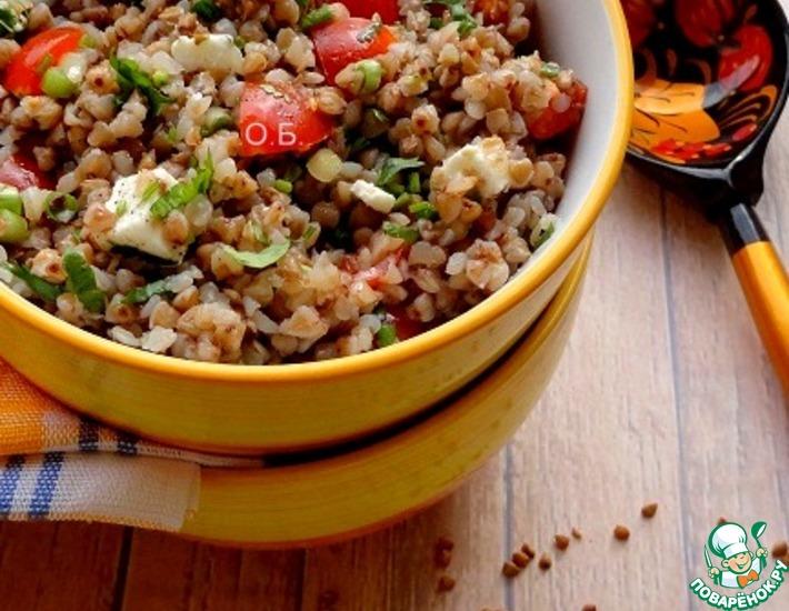 Рецепт: Теплый салат из гречневой крупы