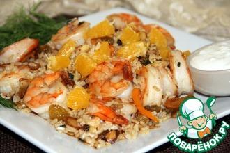Рецепт: Коричневый рис с креветками