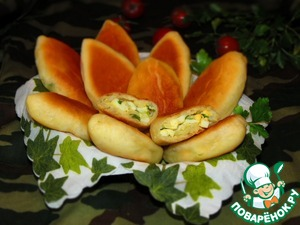 Рецепт Бабушкины пирожки с рисом, луком и яйцом