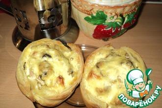 Рецепт: Запечённая горбуша на картофельной подушке Слоеные розочки