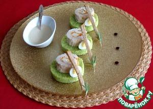 Рецепт Куриные колбаски с яблочно-тыквенным пюре и зеленым кускусом со сливочным соусом