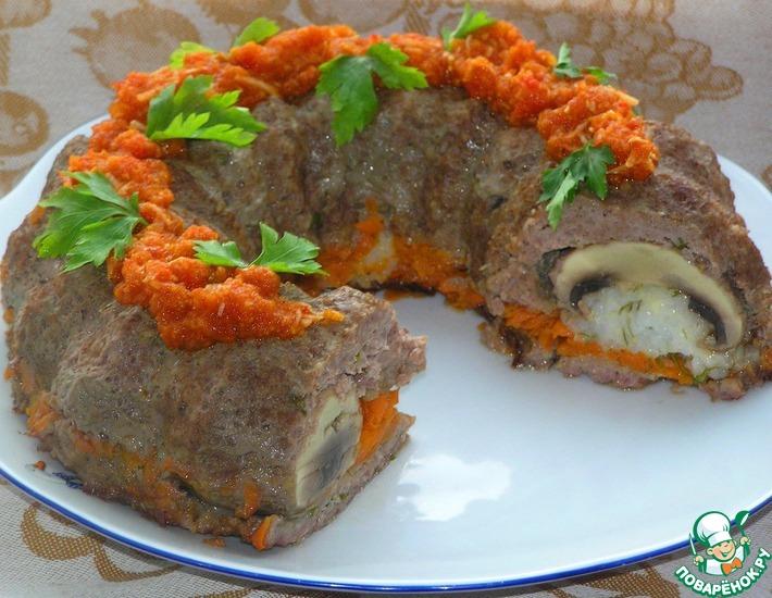 Рецепт: Мясное кольцо с грибами и рисом