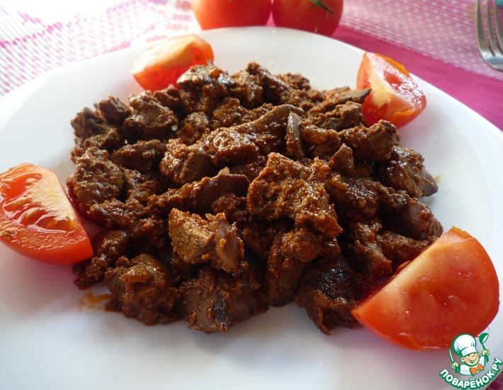 Рецепт: Печень куриная в сметанно-томатном соусе