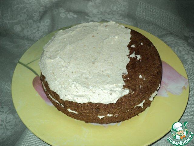Шоколадный бисквит с манно-банановым кремом