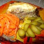 Картофельная запеканка с фаршем и грибной икрой