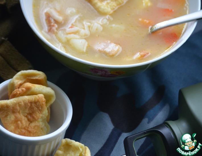 Рецепт: Рисовый суп с жареными лепешками