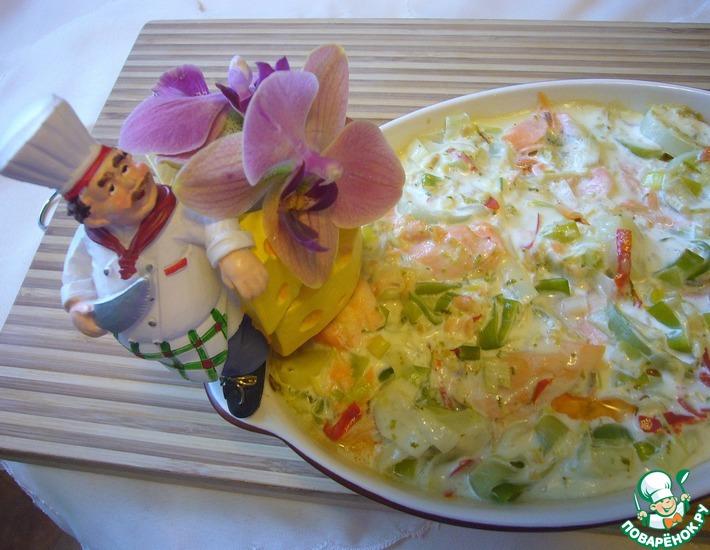 Рецепт: Гратан из форели и лука-порея со сливками