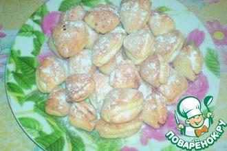 Рецепт: Творожное печенье Ракушки с вареньем