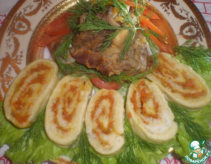 Рецепт: Нежнейшее мясо молодого барашка и рисовый рулет ''Победа''
