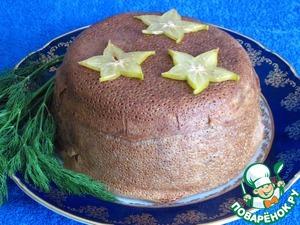 Украсить зеленью укропа и звездачками из карамболь.   Так празднично и аппетитно выглядит пилав с куриной печенью, запеченный в блинах.