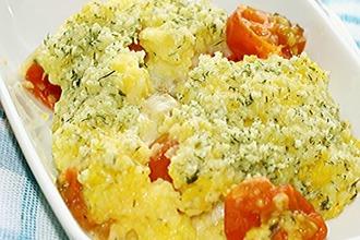 Рецепт: Полента, запеченная с помидорами черри и моцареллой