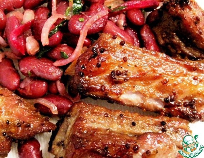 Рецепт: Свиные ребрышки с фасолью