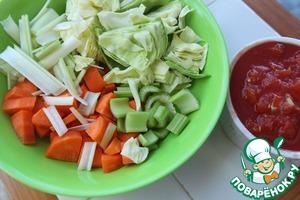 Овощи почистить и нарезать примерно вот так.