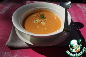 Разливаем суп по тарелкам, кладем кусочки обжаренного лобстера, украшаем укропом и наслаждаемся!
