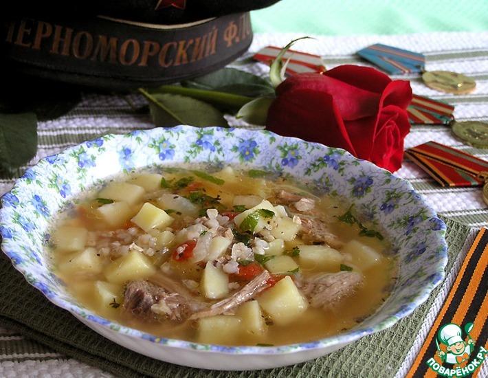 Рецепт: Суп из свинины с зеленой гречкой и томатами