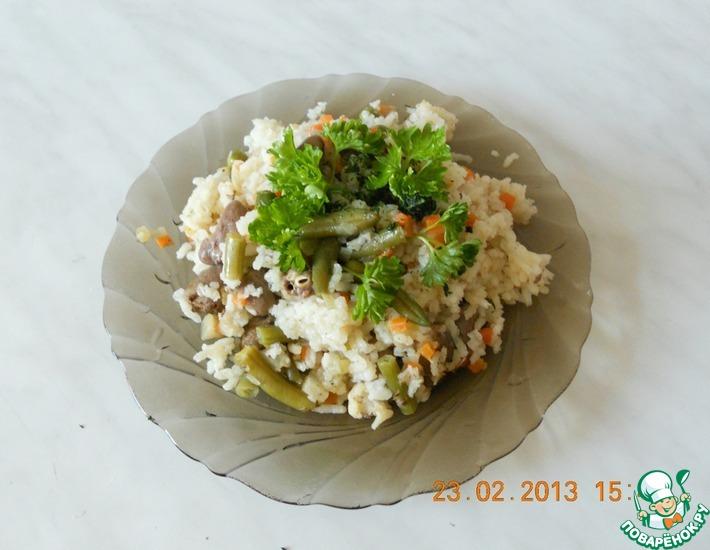 Рецепт: Рис с овощами и куриными сердечками а-ля ризотто