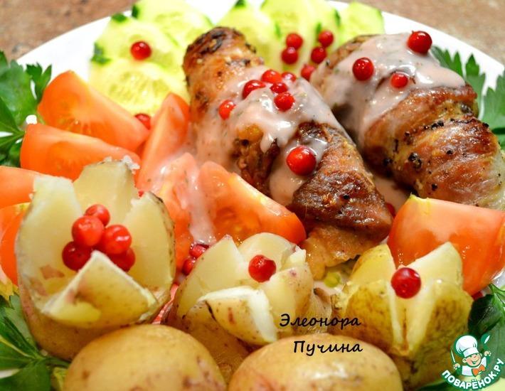 Рецепт: Рулетики из свинины с сыром и чесноком