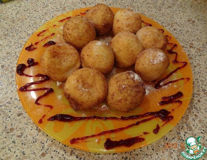Рецепт: Творожные пончики Сюрприз