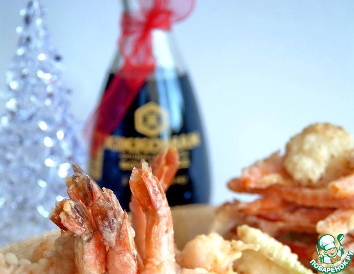 Рецепт: Креветки и овощи темпура