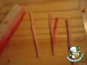 of crab sticks made thin strips