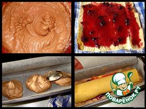 Шоколадное тесто готово.   3 ст.л. теста выкладываем в форму для кексов, распределяем по дну.      Бисквит раскручиваем, смазываем вареньем/повидлом/джемом (желательно, кисленьким и яркого цвета), закручиваем рулет снова (уже без полотенца)    и укладываем его на шоколадное тесто в форме.   Рулет, конечно, у меня немного подкачал, ну уж как получилось!..