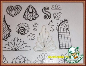 To do the same with miniatures, just to paint a stencil on tracing paper or on file. Once shown what and how to file[url]http://www .povarenok.ru/recipe s/show/13404/[/url]