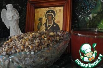 Рецепт: Рождественская кутья с узваром из клюквы и яблок