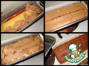 Остатки шоколадного теста раскладываем в боковые промежутки, заполняя пустое пространство, и сверху рулета. Отправляем в духовку.   Все это (выпечка бисквита + готовка теста) заняло у меня ровно 35 минут.      Выпекаем кекс при 180*С.    Через 10 минут от начала выпекания вынуть форму с кексом, ножом провести по середине кекса линию на глубину в 1 см и снова поставить в духовку.    В общей сложности выпекаем примерно 45-50 минут.   За бумажные