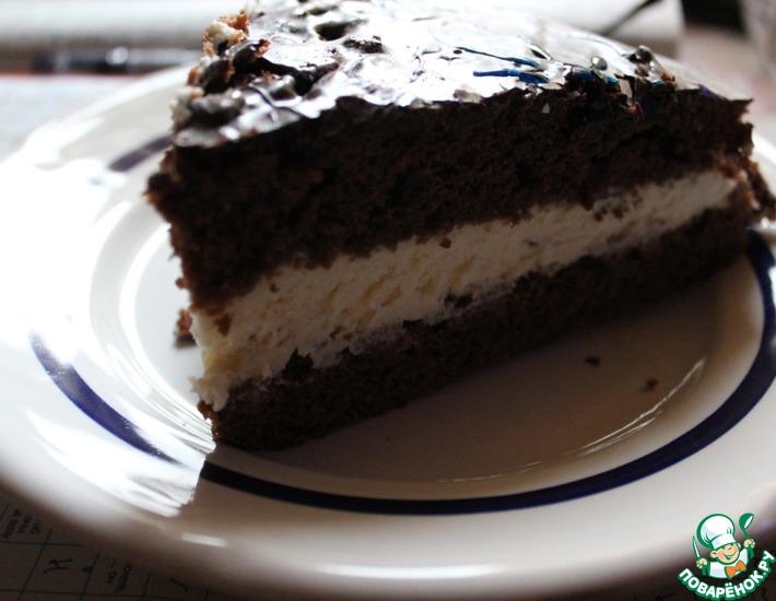 Рецепт: Шоколадный бисквит с простым кремом