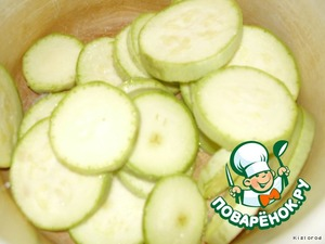 zucchini cut into slices, season with salt