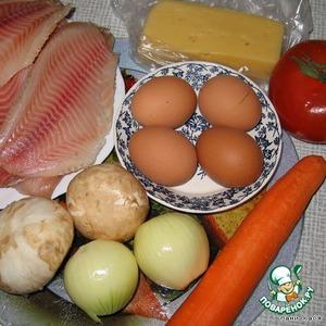 Рыбу размораживаем, овощи чистим, яйца варим