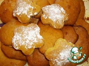 Готовое печенье посыпаем сахарной пудрой. Очень вкусно!