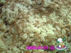 Когда рис почти готов, перемешаем его, так как вермешель всплывает наверх, если надо, долить немного бульона или воды.     Варим  до готовности.   Используем как гарнир.