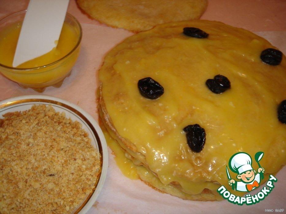 Заварной медовый торт с лимонным кремом