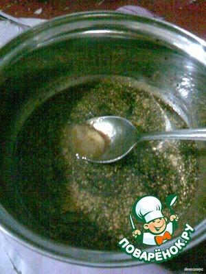 смешать мед, соевый соус, карри и сок от 1/2 лимона