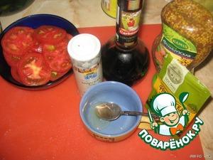 For sauce, combine honey, vinegar, olive oil (1tbsp. spoon) and mustard.
