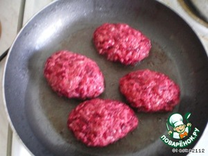 Make burgers and fry in a pan until soft.  Put steak in a deep fryer or an oven form.